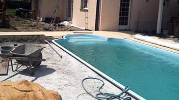 chantier de construction de piscine
