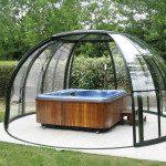 Abri de spa dôme, modèle Orlando en 4 mètres de diamètre, double ouverture en rotonde