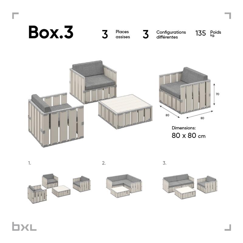 Mobilier de jardin modulable en bois naturel BXL